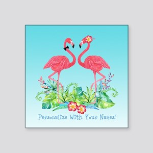 PERSONALIZED Flamingo Couple Sticker