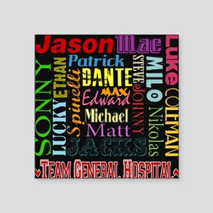 "GH guy names black copy Square Sticker 3"" x 3"""