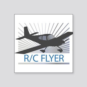 "RC Flyer Low Wing Airplane Square Sticker 3"" x 3"""