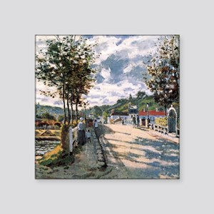 "Monet The Seine at Bougival Square Sticker 3"" x 3"""