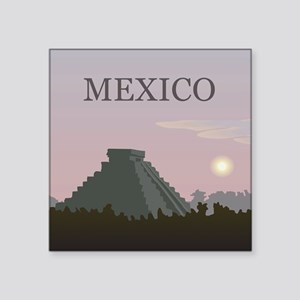 "Vintage Mexico Sunset Square Sticker 3"" x 3"""