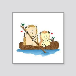 Cute Hedgehog couple sailing on wooden boat Sticke