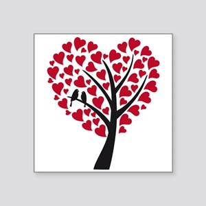 Red heart tree with love birds for wedding Sticker