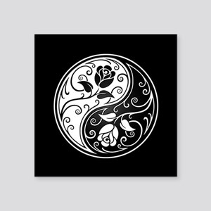 White and Black Yin Yang Roses Sticker
