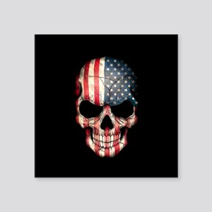 American Flag Skull on Black Sticker