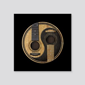 Old and Worn Acoustic Guitars Yin Yang Sticker