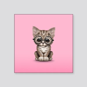 Cute Tabby Kitten with Eye Glasses on Pink Sticker