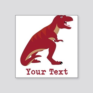 Red T-Rex Dinosaur with Custom text Sticker