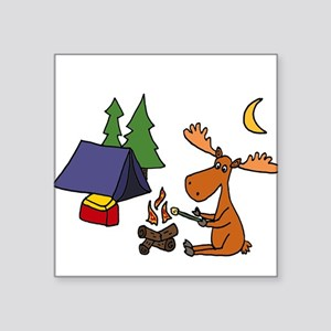 Funny Moose Camping Sticker