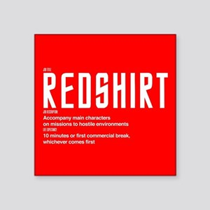 "Star Trek Red Shirt Definit Square Sticker 3"" x 3"""