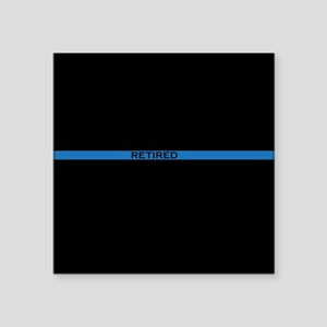 "Retired Thin Blue Line Square Sticker 3"" x 3"""