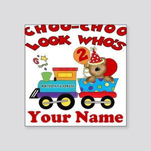 2nd Birthday Train Square Sticker