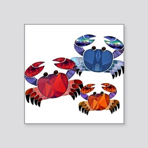 Blue & Red Mosaic Crab Trio Sticker