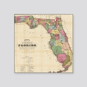 "Vintage Map of Florida (187 Square Sticker 3"" x 3"""
