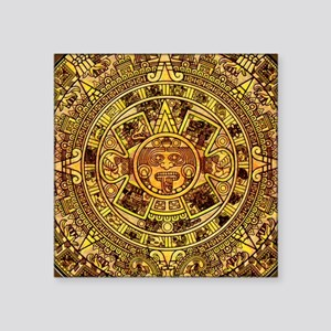 "Aztec Calendar Square Sticker 3"" x 3"""