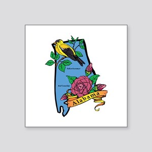 "Alabama Map Square Sticker 3"" x 3"""