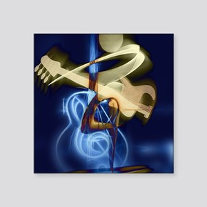 "The Guitar Player, Abstract Square Sticker 3"" x 3"""