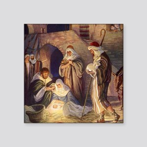"Vintage Christmas Nativity Square Sticker 3"" x 3"""