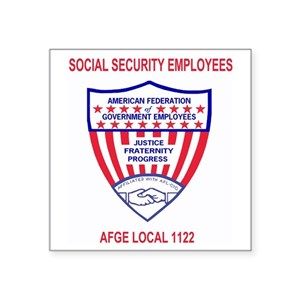 AFGE1122RedJersey Square Sticker 3
