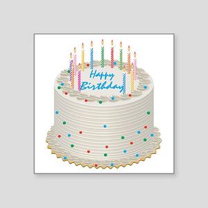 Happy Birthday Cake Square Sticker 3