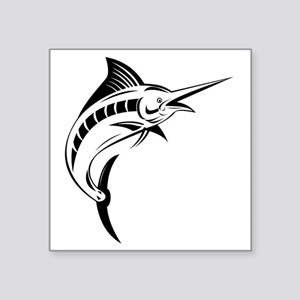 "blue marlin jumping Square Sticker 3"" x 3"""