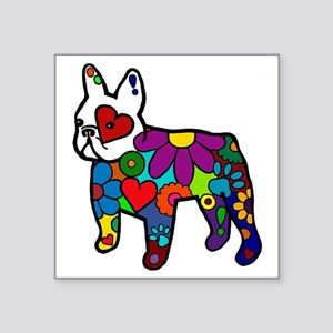 "Frenchie Power Square Sticker 3"" x 3"""