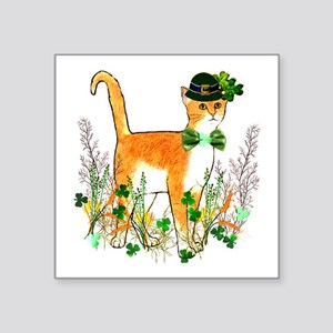 "St. Patrick's Day Cat Square Sticker 3"" x 3"""