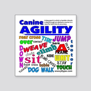 "Canine Agility Square Sticker 3"" x 3"""