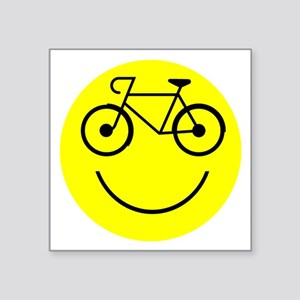 "Smiley Cycle Square Sticker 3"" x 3"""