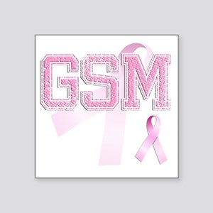 "GSM initials, Pink Ribbon, Square Sticker 3"" x 3"""