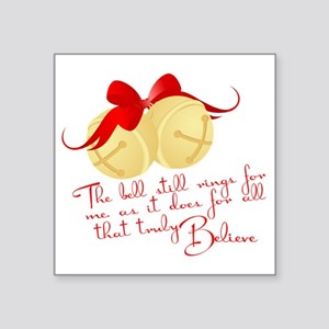 "Polar express jingle bells Square Sticker 3"" x 3"""