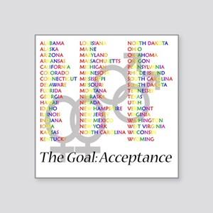 "gaymarriagesymbolsstates Square Sticker 3"" x 3"""