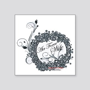 "air force wife flowers blac Square Sticker 3"" x 3"""
