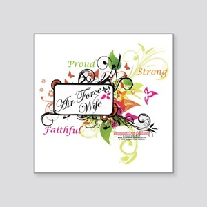"air force wife flowers mult Square Sticker 3"" x 3"""