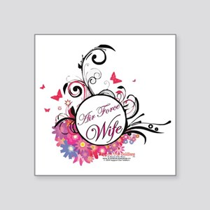 "air force wife flowers pink Square Sticker 3"" x 3"""