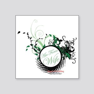 "air force wife flowers gree Square Sticker 3"" x 3"""