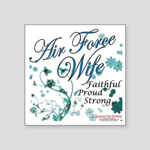 "air force wife flowers blue Square Sticker 3"" x 3"""