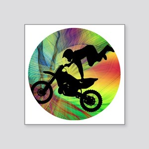 "Motocross in a Psychedelic  Square Sticker 3"" x 3"""