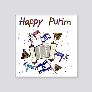 "Happy Purim Square Sticker 3"" x 3"""