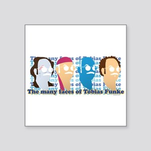 "Many Faces of Tobias Square Sticker 3"" x 3"""