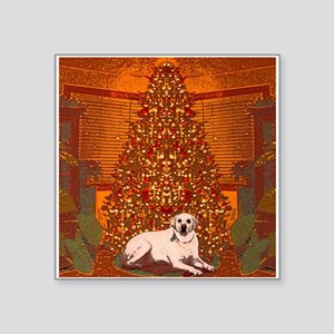 "Christmas Labrador Square Sticker 3"" x 3"""