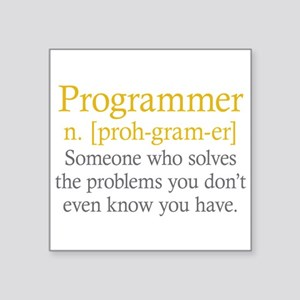 "Programmer Definition Square Sticker 3"" x 3"""