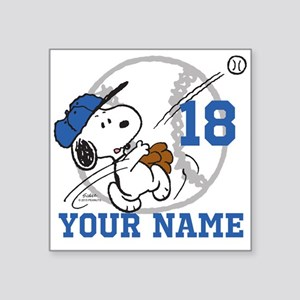 "Snoopy Baseball - Personali Square Sticker 3"" x 3"""