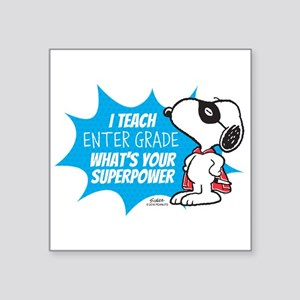 "Snoopy Teacher - Personaliz Square Sticker 3"" x 3"""