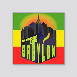 "Blaze Up Babylon Logo Square Sticker 3"" x 3"""