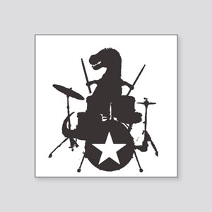 "T-Rex Playing the Drums Square Sticker 3"" x 3"""