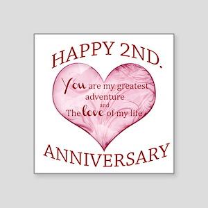 Happy 2nd Anniversary Square Stickers - CafePress