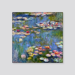 "Water Lilies 1916 by Claude Square Sticker 3"" x 3"""