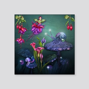 "Fuchsia Faerie and Fantasy  Square Sticker 3"" x 3"""