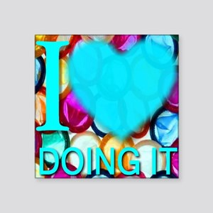 "ilove_DOINGIT_skyblue Square Sticker 3"" x 3"""